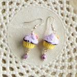 Girl cupcake earrings in lilac and ..