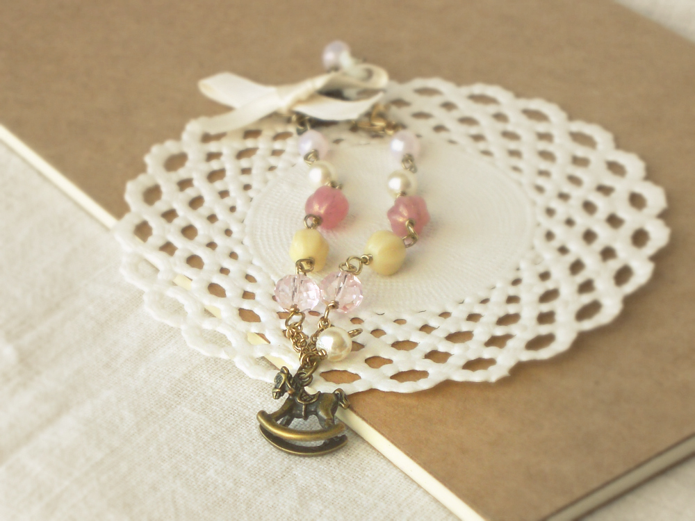 """""""Adventures on a rocking horse"""" romantic vintage style bracelet - 'Treasures' - in dusty pink and cream"""