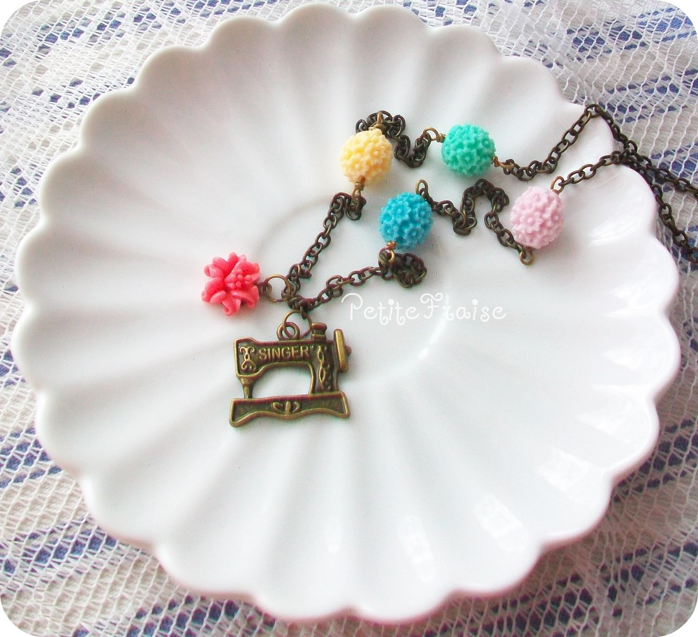 Craft love, necklace - 'Treasures' collection, sewing necklace, vintage style jewelry