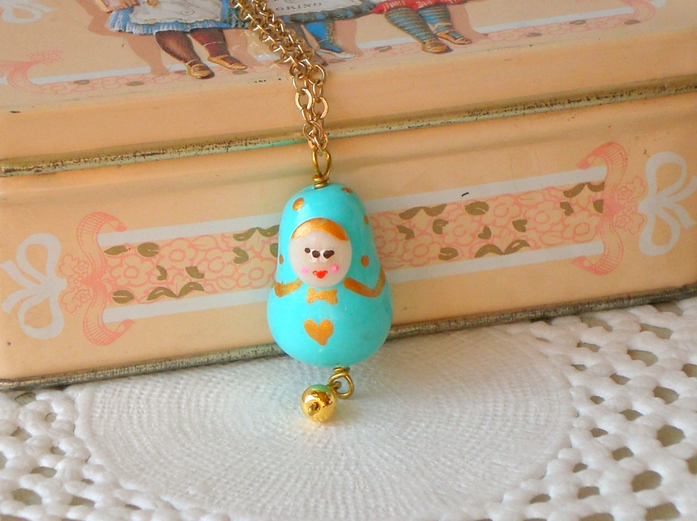 Children necklace with Matryoshka charm in sky blue and gold, babushka polymer clay, girl jewelry
