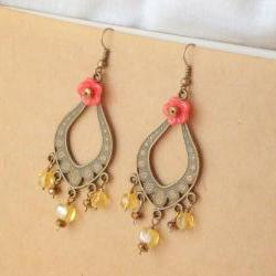 """""""Gitana"""" earrings - 'Treasures' collection, Gypsy boho jewelry,  coral red flower amber yellow"""